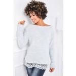 Sweater, soft hair, lace, uni gray