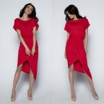 dress, asymmetric, quality, red