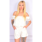 Coverall short, lace, white, unisize