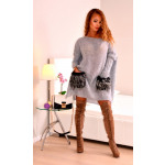 Sweater with fur pockets, quality, gray