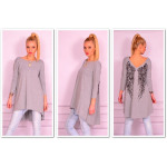 Tunic asymmetrical wings, gray unisize