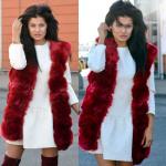 Waistcoat, fur, warm, maroon
