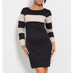 Gestreepte tuniek jurk, zwart S / ML / XL
