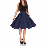 Flared skirt, long, navy blue SML