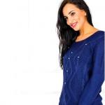 maglione morbido, perle, fili, blu scuro