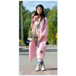 Long sweater coat, bedspread, oversize, pink