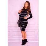 Gebreide jurk, strepen, zwart