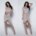 dress, asymmetrical, quality, mocca