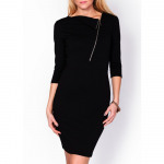 Neckline dress with buttoned diagonally, black