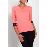 Blouse, decorative sleeve, coral, unisize