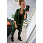 Long sweater, coat, cardigan pockets, green