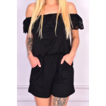Coverall short, lace, black, unisize