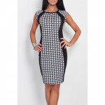 Slimming dress in houndstooth, large sizes