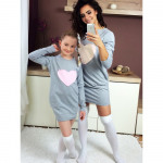 Dress sweatshirt, mom and baby, gray