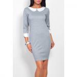 Dress with collar, elegant, gray S / ML / XL