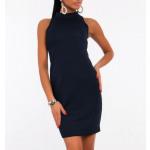 Dress donkerblauw, gewatteerd klassiek, vrouwelijk