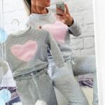 Baby Hoodie, heart, gray, pink