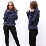 maglione a collo alto, caldo, di spessore, blu scu