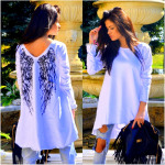 Tunic asymmetrical wings, white unisize