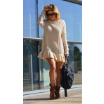 Sweater, sweater dress, flounce, beige, unisize