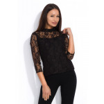 Blouse, lace, fastened at the back, quality, black