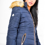 Warm jacket, zip, hood, stripe, navy blue
