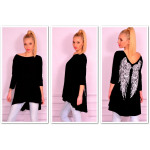 Tunic asymmetrical, wings, black, unisize