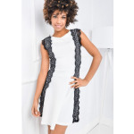 Dress, openwork panels, quality, white