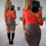 Dress, two colors, pockets, coral brown