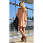 Sweater tunic with pockets, decoration, salmon