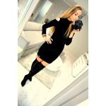Velours jurk, klassiek zwart
