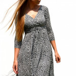 Dress, panther, flared, gray