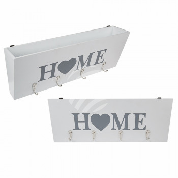 White wooden key case, HOME, with 4 hooks & A