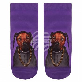 Scene dog socks with braids purple brown gray