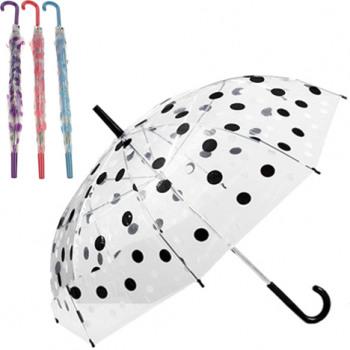 Regenschirm 74cm Stock transparent mit fb.Punkten
