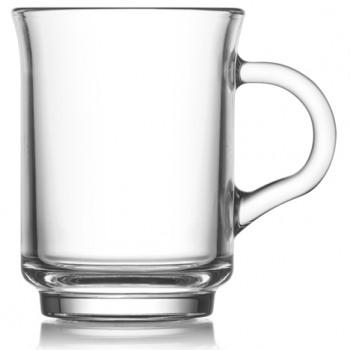 Tazza di vetro con manico chiaro