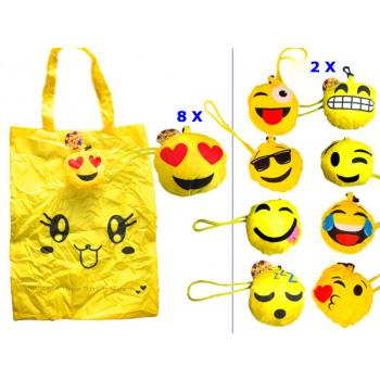 Smiley handles bag 40cm assorted models