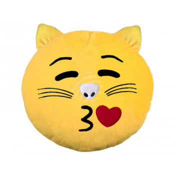 Cat Emoticon coussins picorent jaune