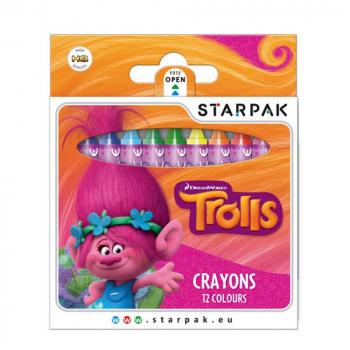 Set 12 Color Pencils Wax TROLLS