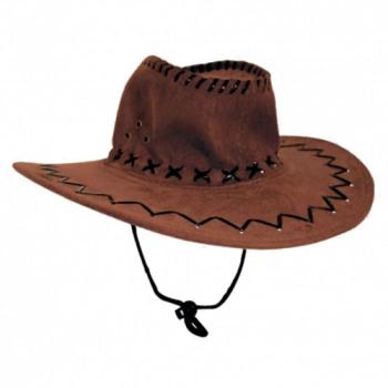 Cowboy-Hut in BRAUN, Wildlederimitat