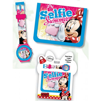 reloj digital + billetera Disney Minnie