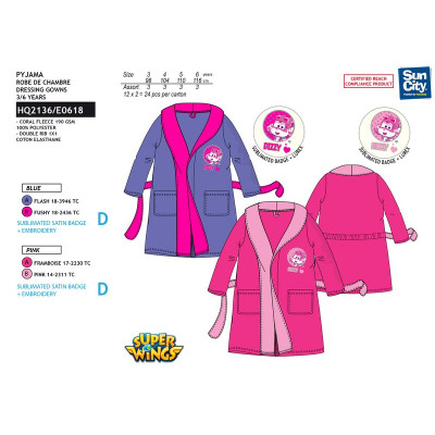 Super Wings - 100% polyester coral dressing gown from wholesale and ...