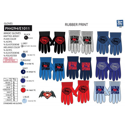 424e73341d6c9 Batman VS Superman - multi composition gloves from wholesale and import