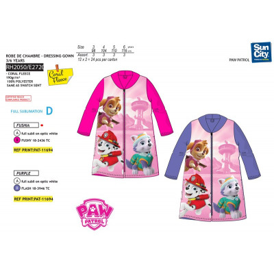 Paw Patrol - 100% polyester coral dressing gown from wholesale and ...