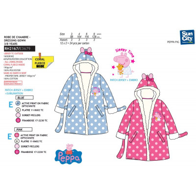 Peppa Pig - multi cotton coral dressing gown from wholesale and import