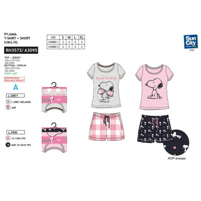 Snoopy - pyjacourt T-Shirt & sh 100% coton from wholesale and import