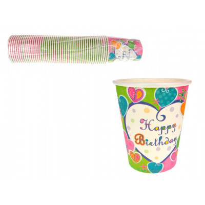 Paper cups Happy Birthday color set 50 s from wholesale and