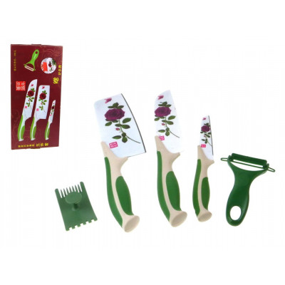 Kitchen Set 2 Knives Cleaver Peeler With Flowe From Wholesale