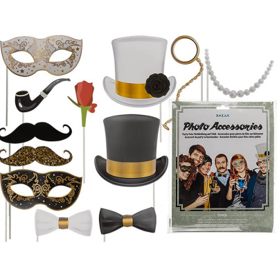 Party Photo Panel on Stick, Glamor (Hat, Fl
