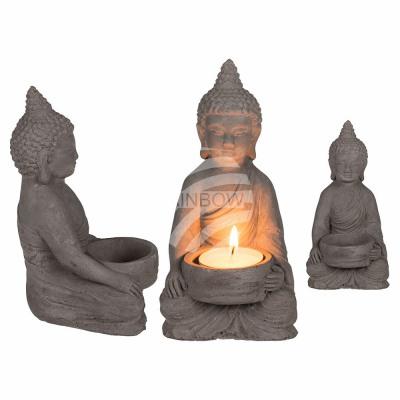 Cement tealight holder, Buddha , about 8 x 15.5 cm